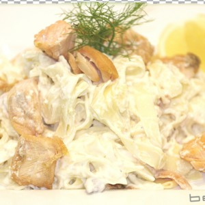 tagliatelle with salmon steak